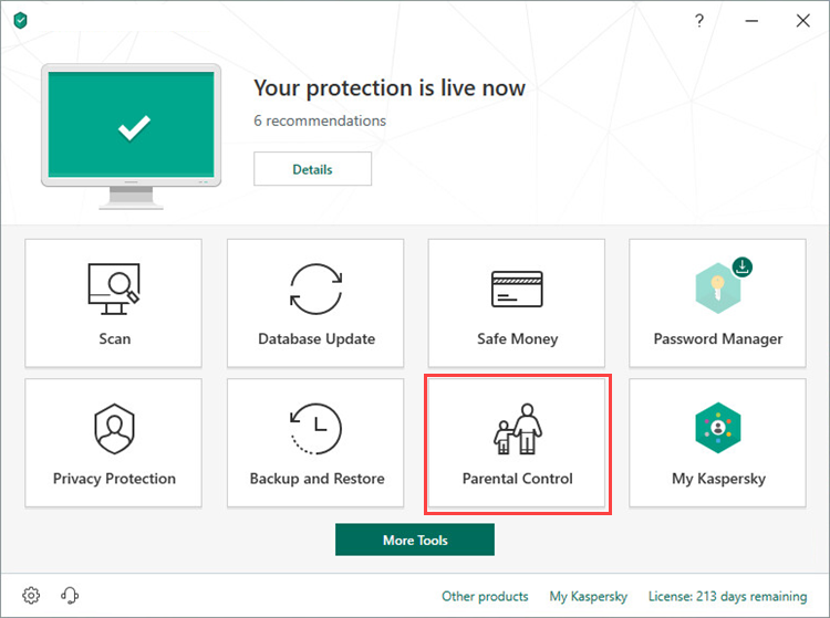 Opening Parental Control in Kaspersky Internet Security 19