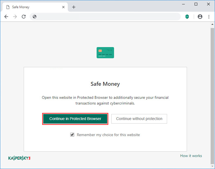 Opening a website in Protected Browser in Kaspersky Total Security 20