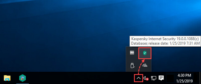 The Kaspersky Internet Security icon on Taskbar