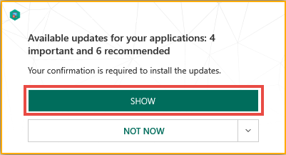 Updates notification in Kaspersky Internet Security 19