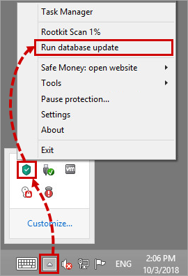 Updating the Kaspersky Internet Security 19 databases through the toolbar