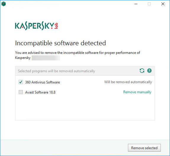 Incompatible software detected window from the installation of Kaspersky Security Cloud