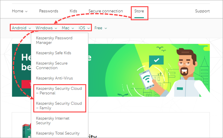 Opening the Kaspersky Security Cloud - Personal or Family online store page in My Kaspersky