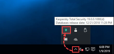 Kaspersky Total Security icon in the hidden icons section of the Windows toolbar