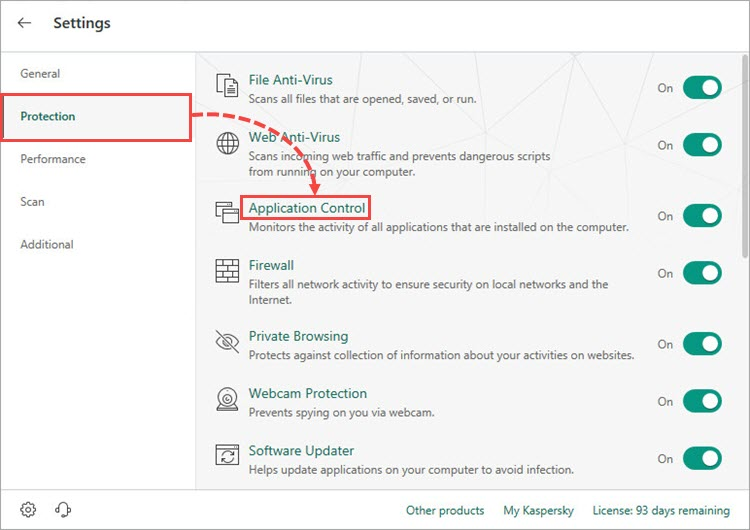 Opening the Application Control window in Kaspersky Internet Security 19