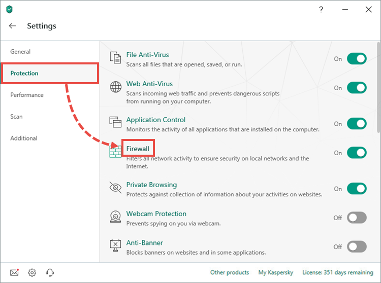 Opening the Firewall settings window of Kaspersky Security Cloud 19