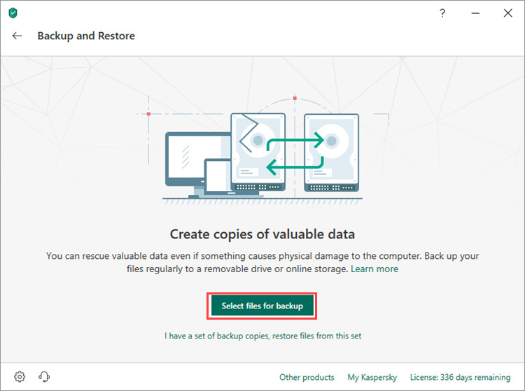 Opening the Select files for backup window in Kaspersky Total Security 19