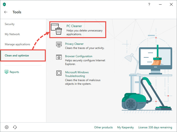 Opening the Software cleaner tool in Kaspersky Internet Security 19