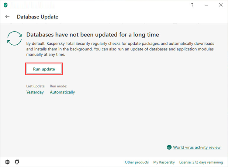 Updating the Kaspersky Total Security 20 databases from the toolbar