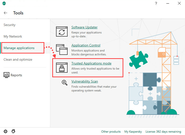 Opening the Trusted Applications mode settings window of Kaspersky Internet Security 20