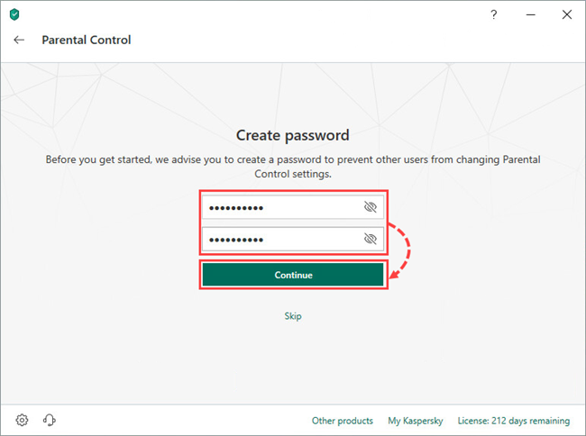 Creating a Parental Control password in Kaspersky Internet Security 19