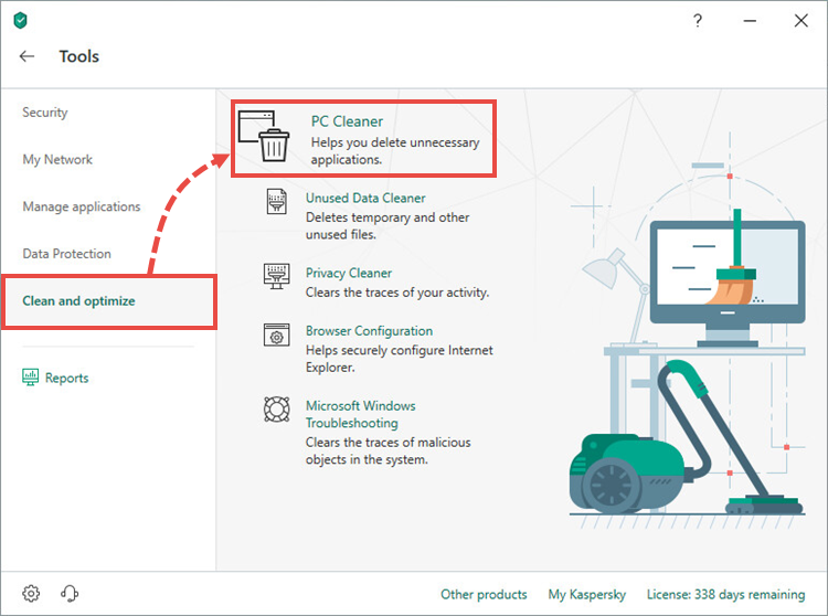 Opening the Software cleaner tool in Kaspersky Total Security 19