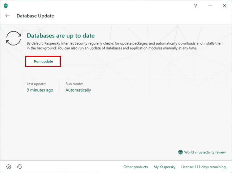 Updating the Kaspersky Internet Security 19 databases through the application interface