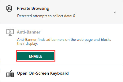 Enabling Anti-Banner in a browser