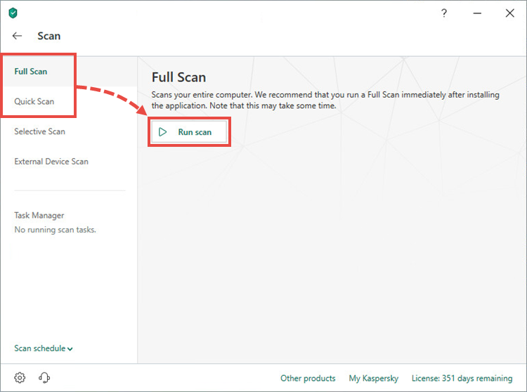 Starting a full or quick scan in Kaspersky Internet Security 19