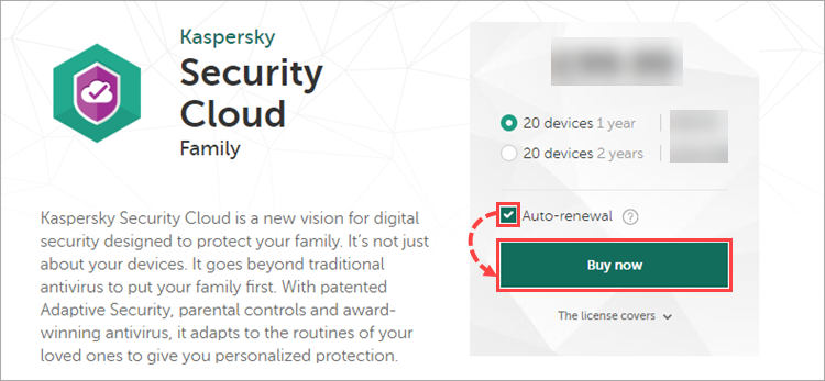 Purchasing Kaspersky Security Cloud - Family in My Kaspersky