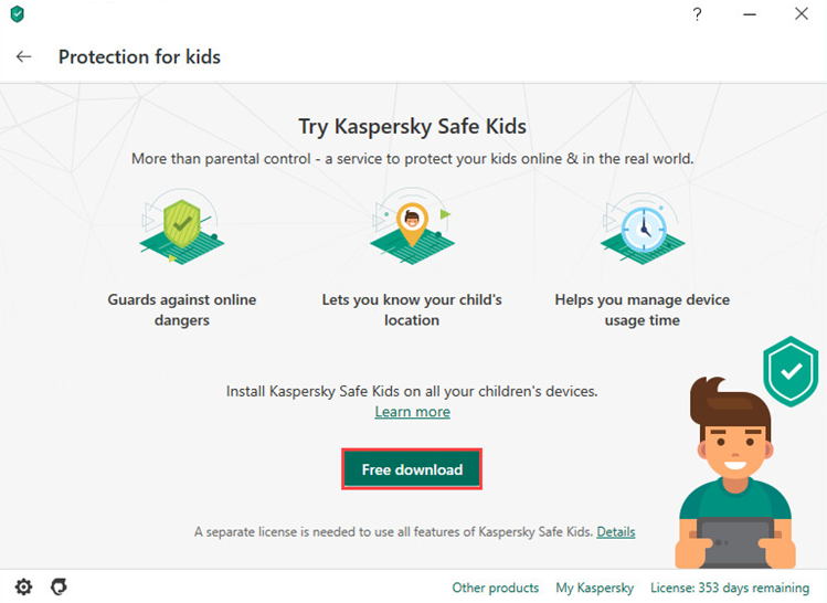 Downloading Kaspersky Safe Kids from the Kaspersky Total Security 20 interface