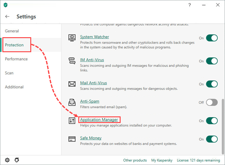 Opening the Application manager settings in Kaspersky Internet Security 20