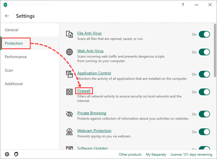 Opening Firewall settings in Kaspersky Total Security 20