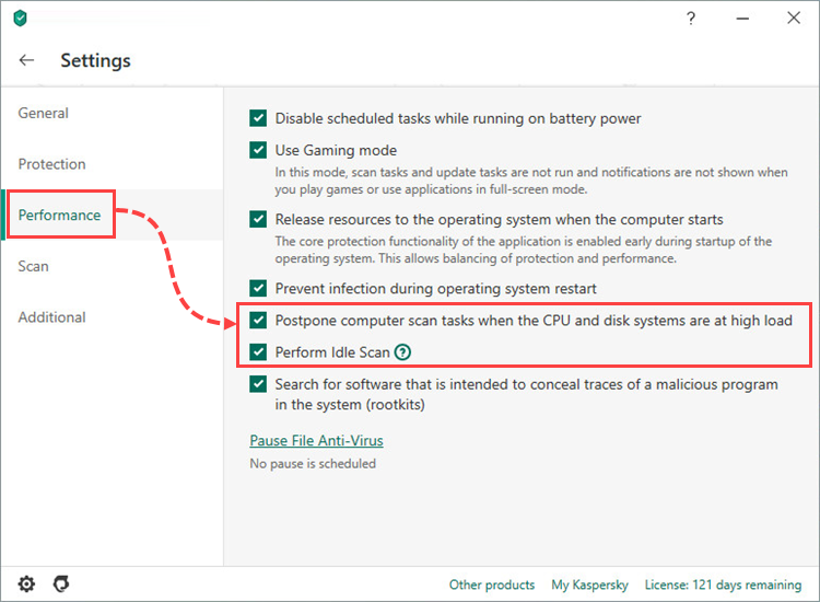 Performance settings in Kaspersky Anti-Virus 20