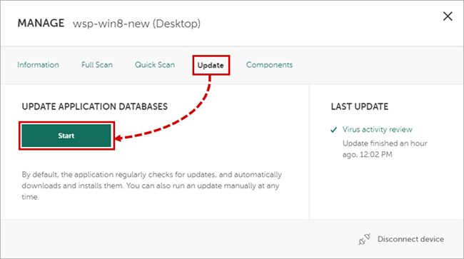 Updating the Kaspersky Internet Security 19 databases through My Kaspersky