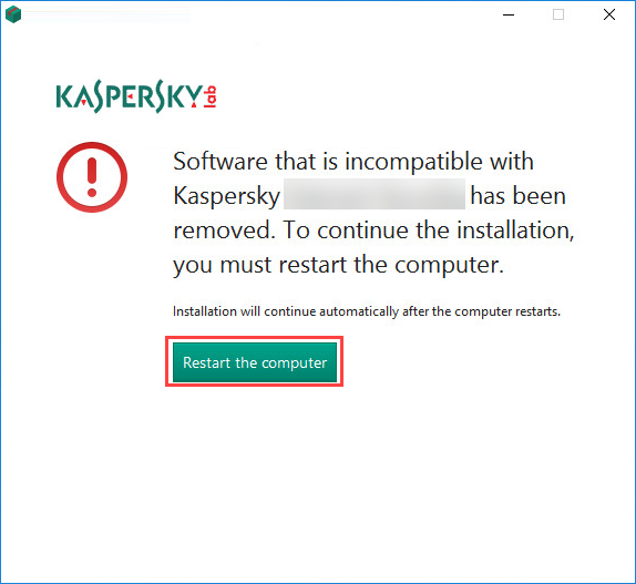 Restarting the computer after removing incompatible applications during the installation of Kaspersky Security Cloud