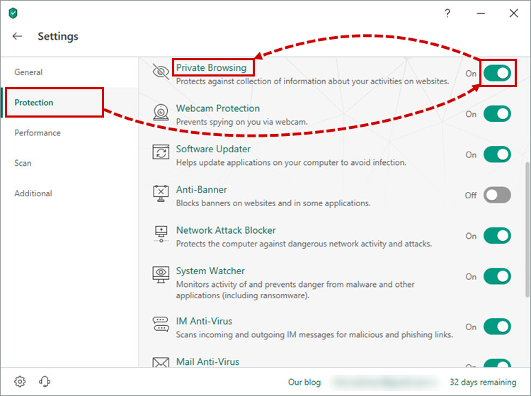 Opening Private Browsing settings in Kaspersky Security Cloud 19