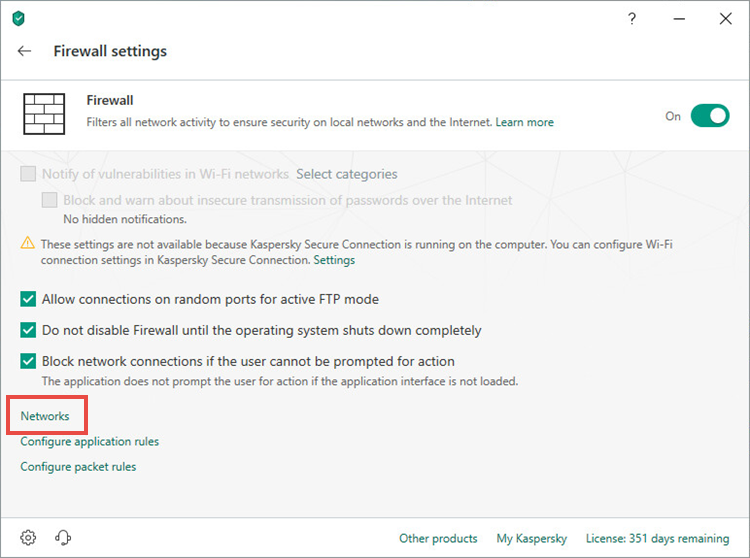 Opening the network settings window of Kaspersky Security Cloud 19