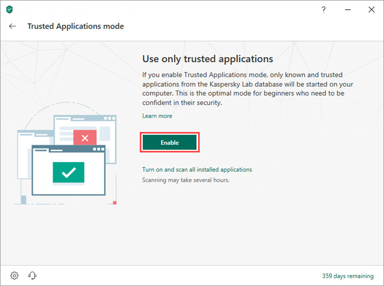 Enabling the Trusted Applications mode in Kaspersky Internet Security 19
