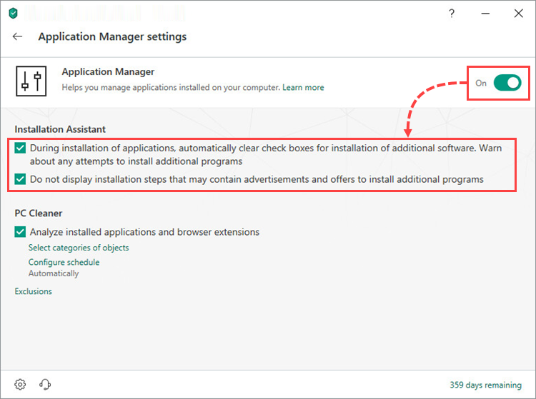 Enabling and configuring Application manager in Kaspersky Internet Security 19