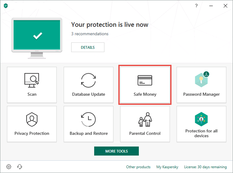 Opening the Safe Money window of Kaspersky Total Security 19