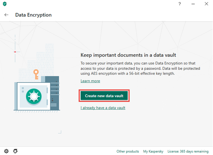 Creating a vault in Kaspersky Security Cloud 20