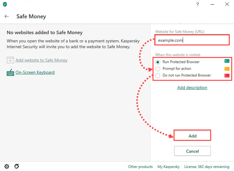 Adding a website to Safe Money in Kaspersky Internet Security 20