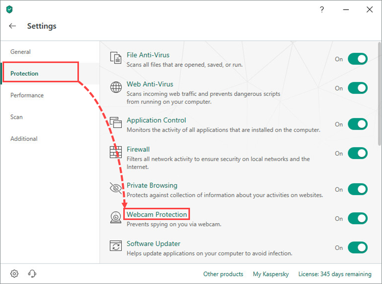 Opening the Webcam Protection section in Kaspersky Total Security 19