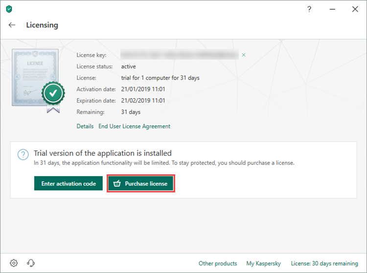 Purchasing the license for Kaspersky Internet Security 19