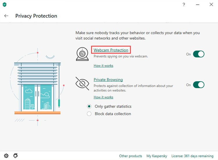 Opening the Webcam Protection settings in Kaspersky Internet Security 20