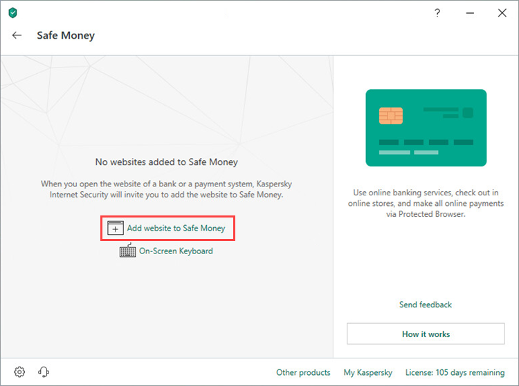 Adding a website to the Safe Money list in Kaspersky Total Security 19
