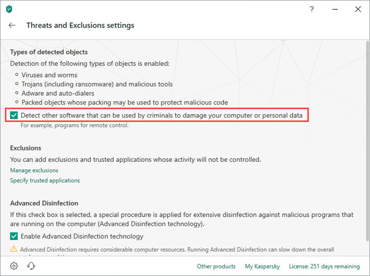 Enabling riskware detection in Kaspersky Total Security 19