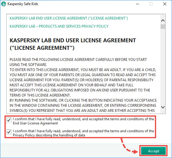 Accepting the license agreement