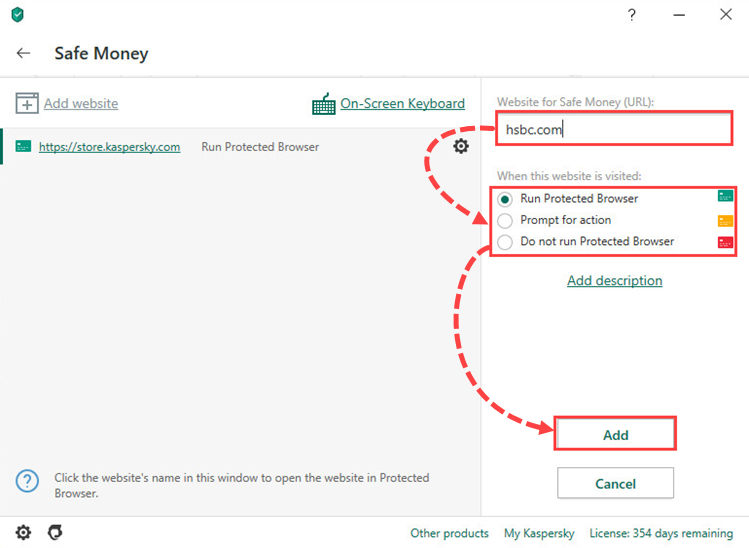 Opening the Safe Money settings window of Kaspersky Security Cloud 20