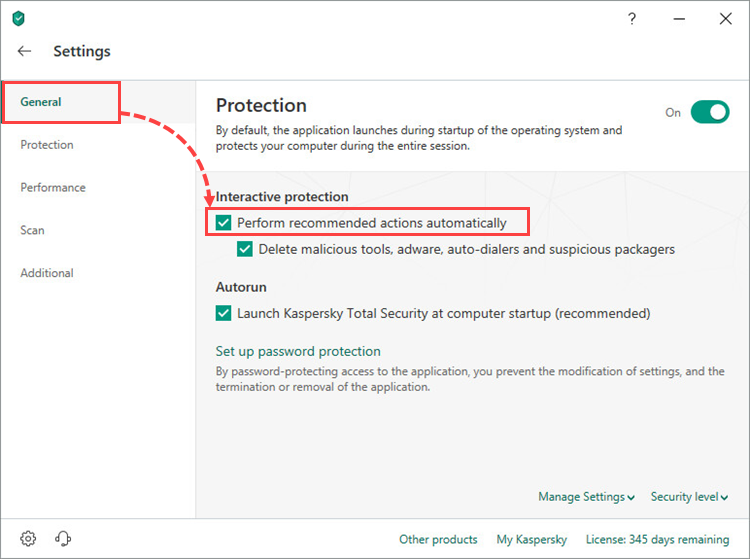 Configuring automatic and interactive protection modes in Kaspersky Total Security 19