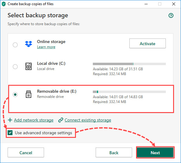 Selecting a removable drive for creating file backups in Kaspersky Security Cloud 20