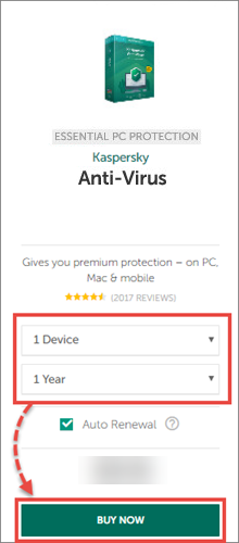 Buying a license for Kaspersky Anti-Virus 20