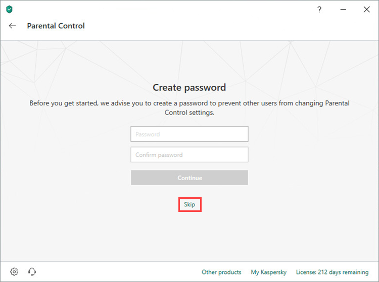 Skipping creation of a Parental Control password