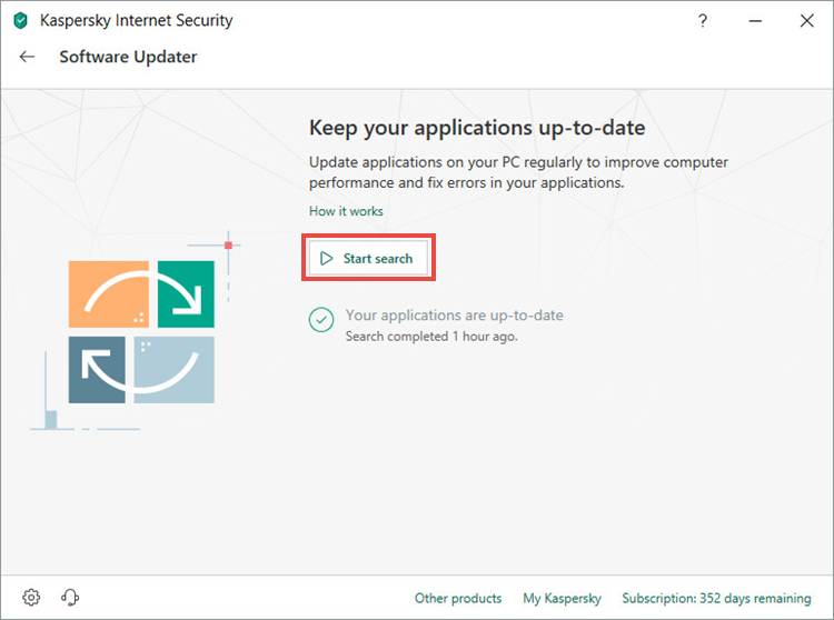Starting a search for application updates in Kaspersky Internet Security 19