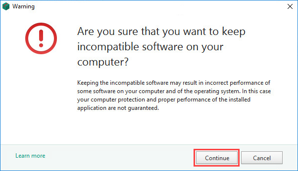 Confirming not to remove incompatible applications while installing Kaspersky Security Cloud