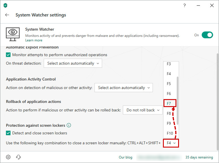 Selecting a hotkey for protection against screen lockers in Kaspersky Securitу Cloud 19
