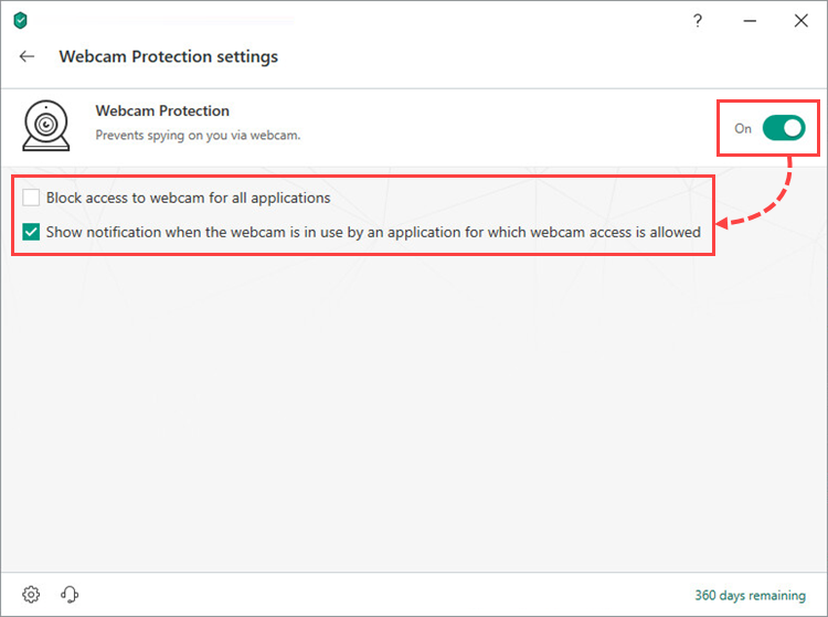 Enabling and configuring Webcam Protection in Kaspersky Total Security 19