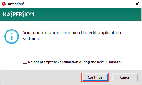 Confirmation of enabling or disabling Self-Defense in Kaspersky Total Security 19
