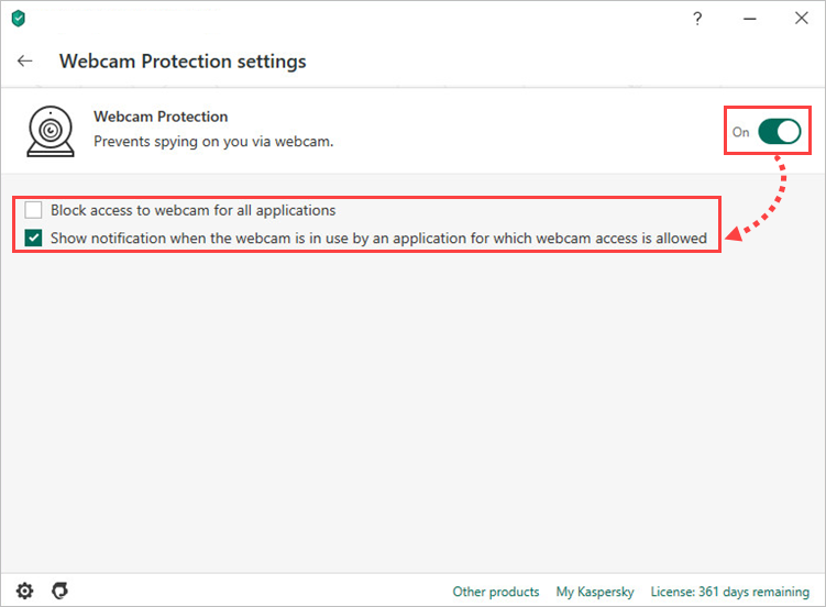 Enabling and configuring Webcam Protection in Kaspersky Internet Security 20